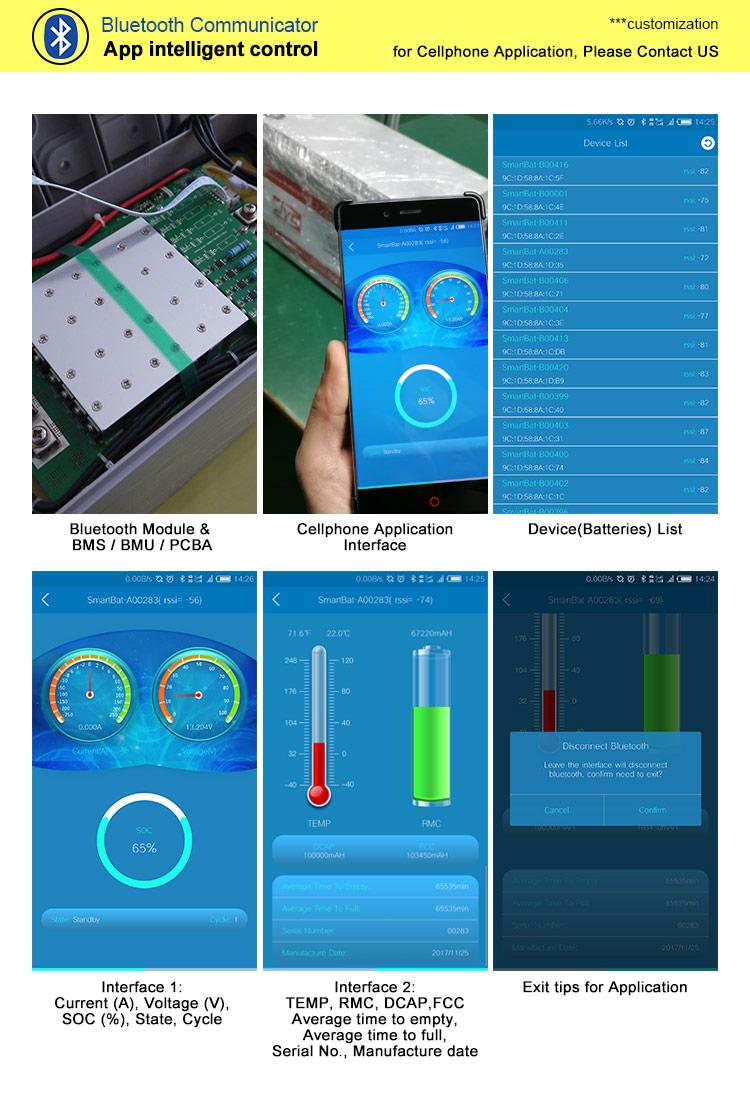 APP Bluetooth Control 12V 100Ah Solar Li-ion Lipo LiFePO4 Lithium Battery Pack-4