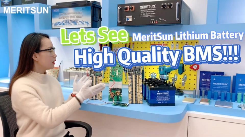 MeritSun 12V 24V 48V lithium battery smart BMS (Bluetooth, LCD, low temp heating)