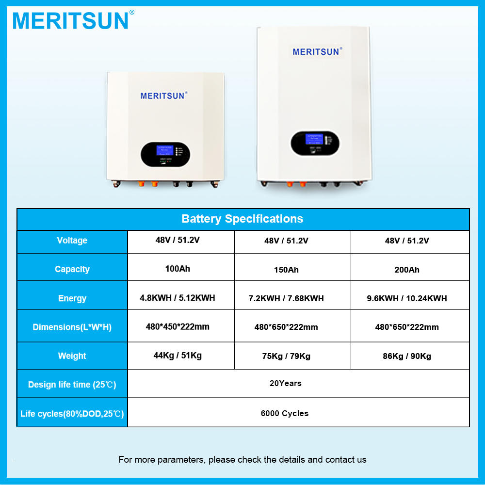 MeritSun Solar Storage 100ah 200ah Recharge Battery 5kw 10kw Lithium Ion Battery Power Wall 48V