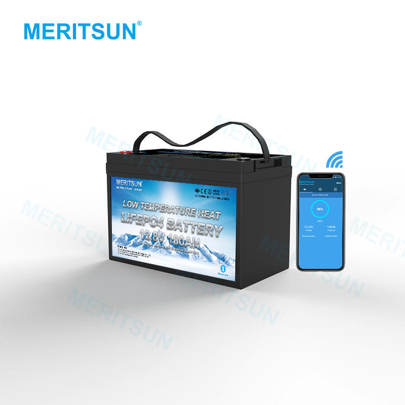 Meritsun 12V Lifepo4 Lithium 100Ah Battery With Heated Function For Low Temperature Applications