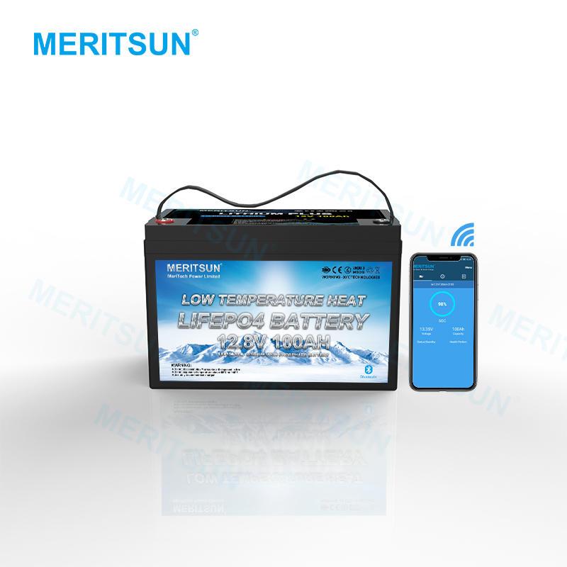 MERITSUN 12V lithium ion solar battery 12V 100Ah RV LiFePo4 Battery Pack builtin Lowtemp protect BMS