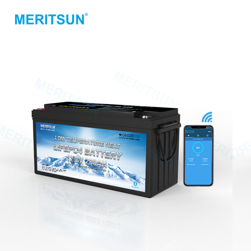 Meritsun Low Temperature Battery Lifepo4 Lithium Ion Battery 12V 200ah Home Appliances BOATS Golf Carts Electric Power Systems