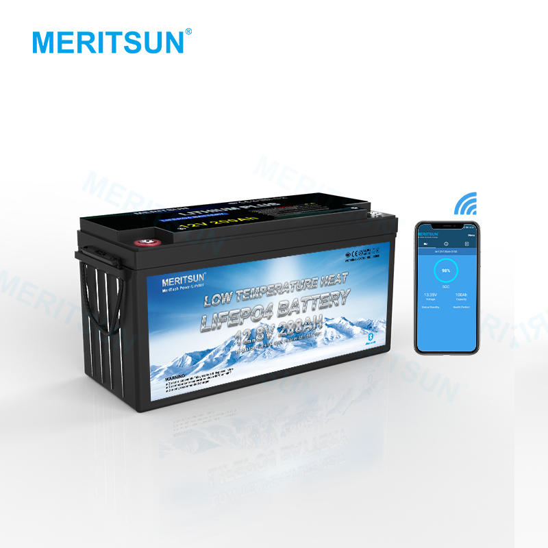 Meritsun Low Temperature 12v 200ah Lifepo4 Lithium Battery Cells With Blluetooth