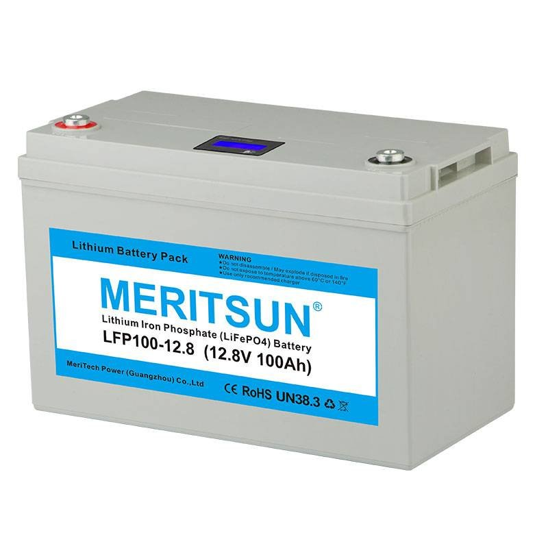 MERITSUN With LCD APP Bluetooth Control 12V 100Ah Deep Cycle LiFePO4 Lithium ion Polymer Battery Pack 12V / 24V LiFePO4 Battery image4