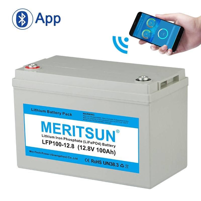 MERITSUN APP Bluetooth Control 12V 100Ah Solar Li-ion Lipo LiFePO4 Lithium Battery Pack 12V / 24V LiFePO4 Battery image15