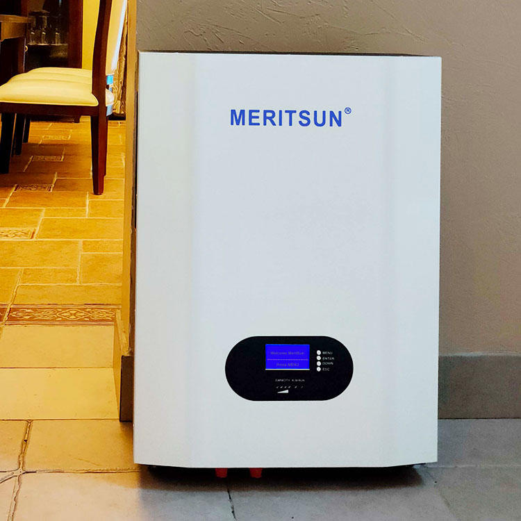 Installation of the 5kw inverter integrated MeritSun 10kwh power wall battery system
