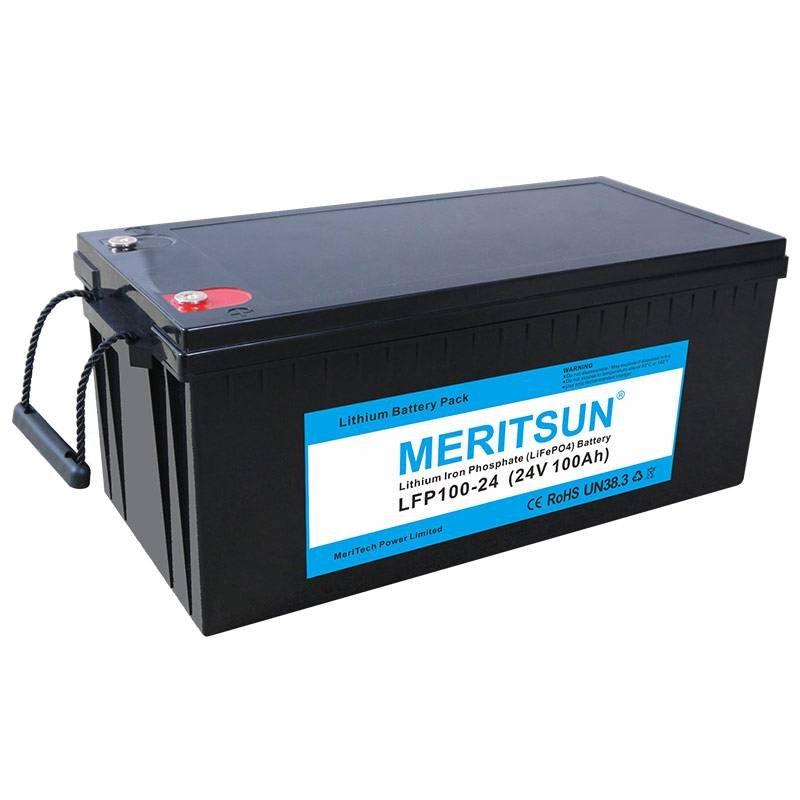 MERITSUN 25.6V 24V 100Ah Lipo Li-ion Lithium iron Phosphate LiFePO4 Battery 12V / 24V LiFePO4 Battery image2